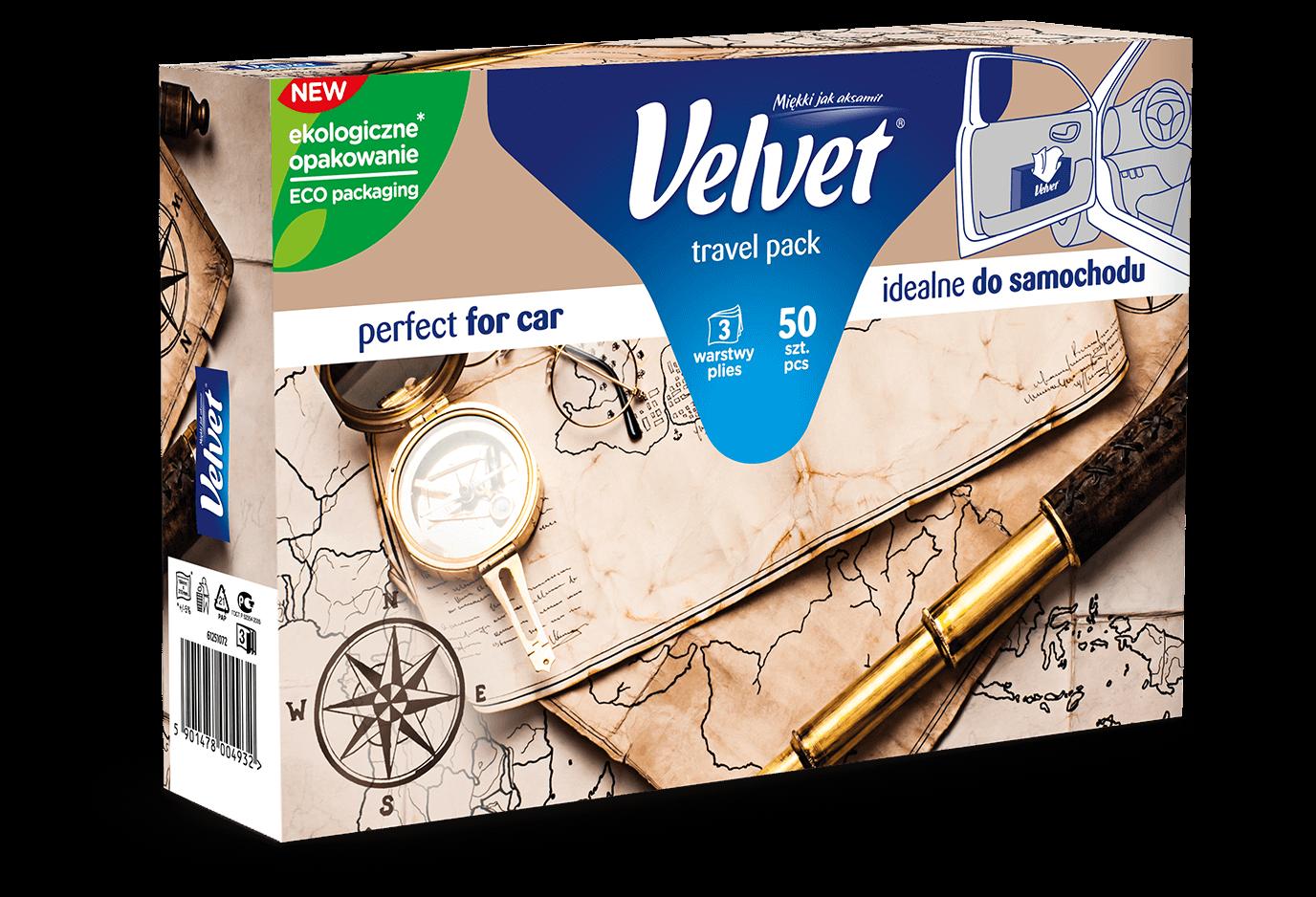 Chusteczki higieniczne Velvet Travel Pack – kolorystyka w odcieniach brązu