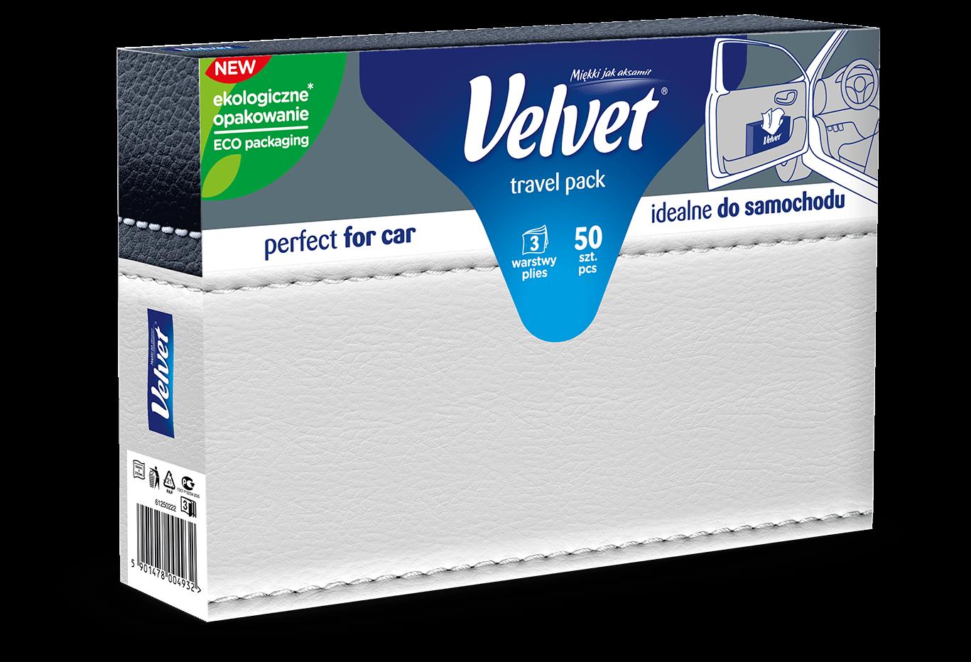 Chusteczki higieniczne Velvet Travel Pack – kolorystyka w odcieniach szarości
