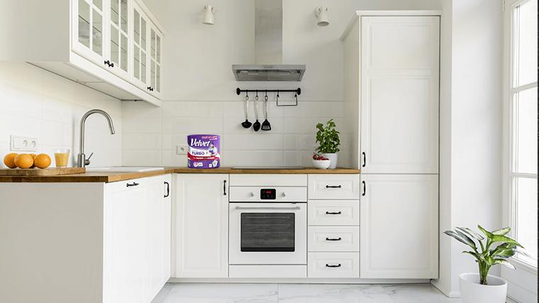 Biała, przestrzenna, jasna kuchnia – Czysty dom w dobie pandemii – Velvet