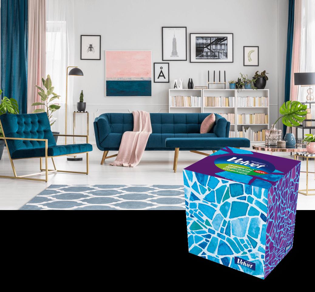 Niebieska kanapa i jasny stół – prezentacja chusteczek w pudełku Velvet z obrazkiem psa i kota.